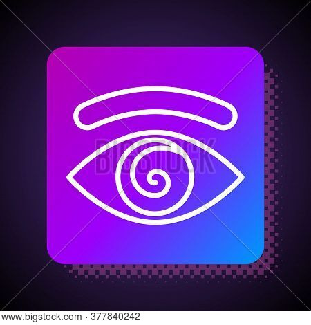 White Line Hypnosis Icon Isolated On Black Background. Human Eye With Spiral Hypnotic Iris. Square C