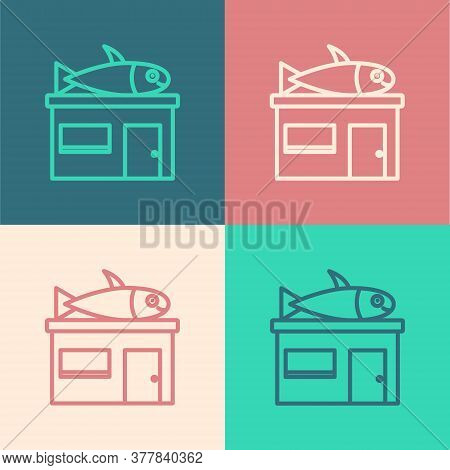 Pop Art Line Seafood Store Icon Isolated On Color Background. Facade Of Seafood Market. Vector.