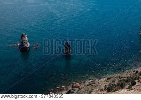 Beautiful View From The Cliff On The Blue Sea.