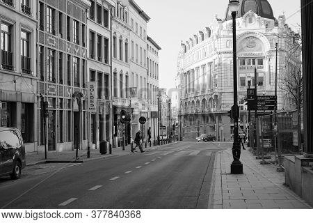 Brussels, Belgium, April 2018, Rue De Lombard, Old Center Of The City Of Brussels, Belgium, In Monoc