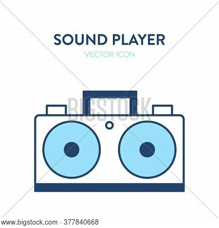 Boombox Vector Icon. Vector Illustration Of A Retro Sound Player, Tape Recorder With Large Speakers.