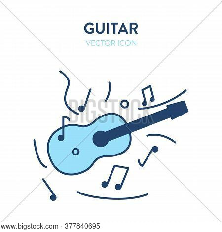 Guitar Vector Icon. Guitar Illustration With Musical Notes Around It. Vector Icon Of Musical Instrum