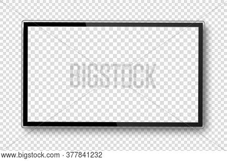 Tv Screen. Realistic 4k Ultra Hd Monitor. Blank Black Tv Screen. Modern High Definition Television.
