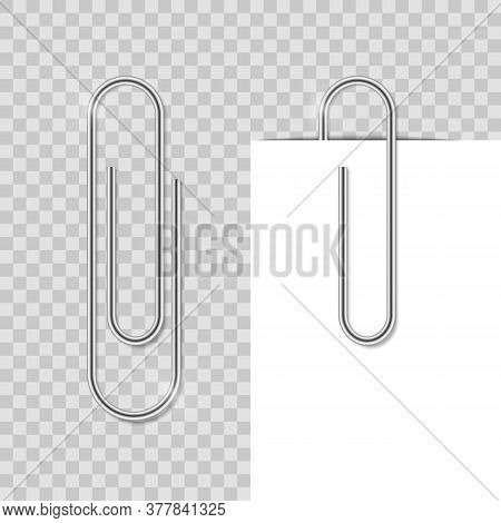Realostic Paper Clip. Metal School Clip With Shadow. Office Binder Fix Paper