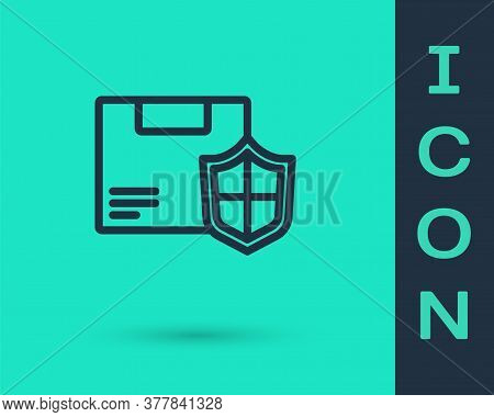 Black Line Delivery Security With Shield Icon Isolated On Green Background. Delivery Insurance. Insu