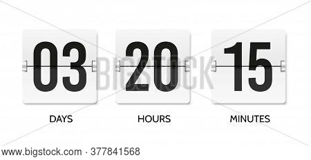 Countdown Flip Clock. Counter Mechanical Banner. Scoreboard Or Flipboard