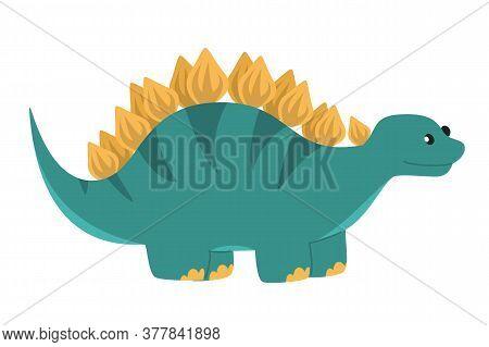 Cute Colorful Baby Stegosaurus Vector Isolated. Huge Lizard