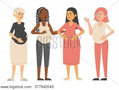 Pregnant Young Women Standing Together Vector Isolated.