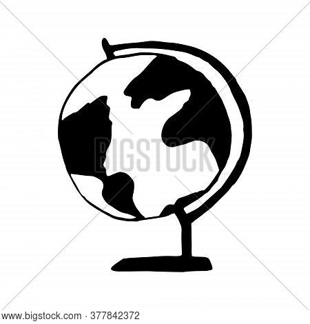 Globe Hand Drawn In Doodle Style. Vector, Scandinavian, Monochrome. Single Element For Design Sticke