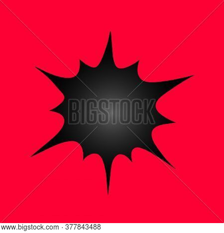 Boom. Black Hole On The Red Wall. A Gap In Space. Vector Illustration. Isolated Red Background. Way