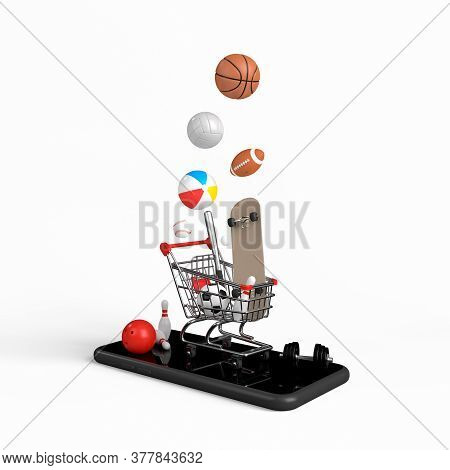 Online Shopping Concept On Smartphone On White Background. Online Shopping Sports Equipment. 3d Rend