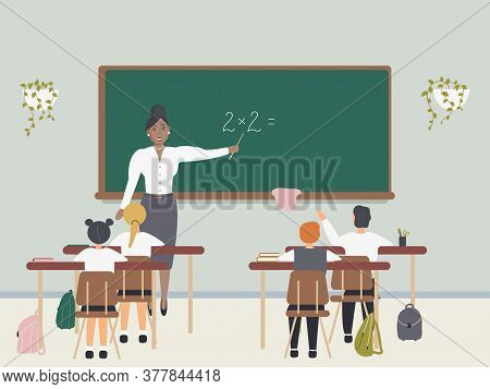 Female math teacher explaining multiplication to elementary school pupils or children near chalkboard. Young woman teaching mathematics or arithmetic to kids sitting at desks in class.Vector