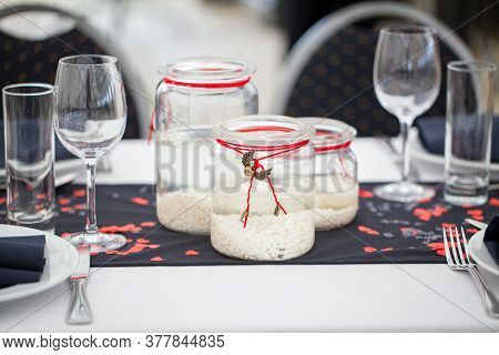Festive Dining Table Setting, With Candles In Glass Jars, Hearts And Colors, Vintage Crockery And Cu