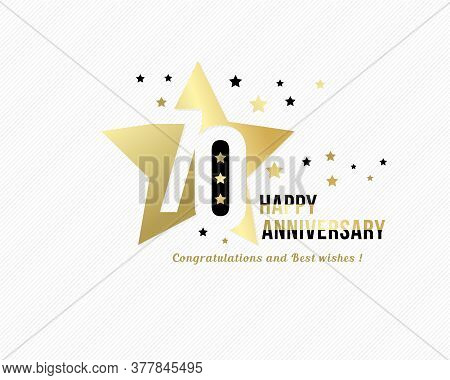 70 Anniversary Emblem. Golden Star Shape Frame With Gold And Black Starry Confetti Decorations