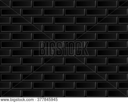 Seamless Black Brick Ceramic Tile. Nordic & Scandinavian Design Background. Vector Trend Illustratio