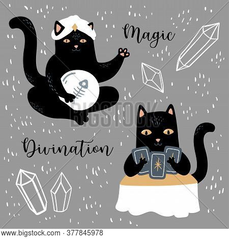 Funny Vector Magic Set. Witchcraft And Occultism Symbols: Black Cat, Skull, Ouija Board,  Moon, Crys