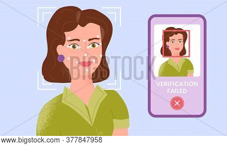 Female Being Checked Via Smartphone Face Identification Technology And The Verification Is Failed. F