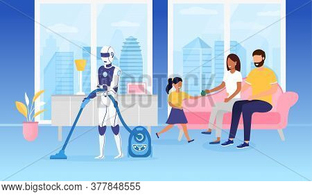 Domestic Robot Using A Vacuum Cleaner Futuristic Concept. Young Happy Family Sitting On The Couch An