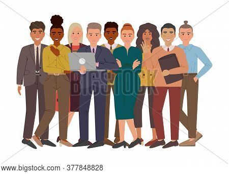 Group Of Business Men And Women In Suits And Office Style Cloth. Professional Multi-ethnic Group Of