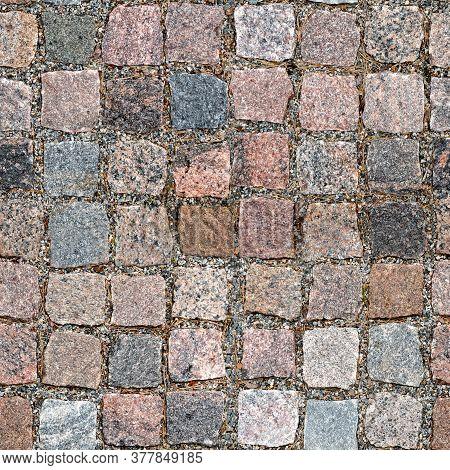 Seamless Granite Cobblestone Pavement Texture. Top View