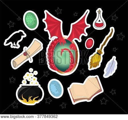 Magic Stickers. I Love Magic. Witchcraft Omens. Mystic. Magic Wand, Talking Hat, Parchment And Drago