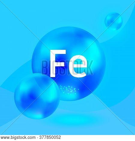 Mineral Fe, Blu Shining Capsule. Ferrum Blue Glossy Pill. Vector.