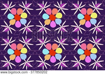 Seven Petals Flower Seamless Pattern. A Fabulous Multi-colored Flower With Seven Petals That Fulfill
