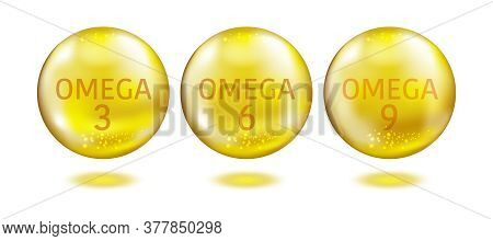 Omega Acids. Healthy Food Supplements . Dha 3, 6 And 9 Organic Vitamin Nutrient Fish Oil.
