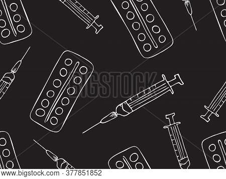 Pattern Of Drugs, Syringes And Pills. Medical Supplies: Syringe And Pills. Freehand Drawing In Vecto