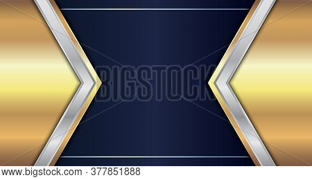 Abstract Gold And Silver Metallic Geometric Triangle Header On Blue Background. Luxury Style. Vector