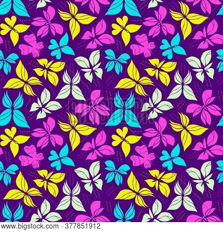 Beautiful Butterfly Seamless Pattern. Elegant Backgroung With Butterflies. Colorful And Playful Wall