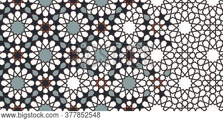 Morocco Mosaic Wallpaper, Repeating Vector Border, Pattern, Background. Geometric Morocco Halftone P