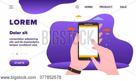 Mobile Phone In Hand Isolated Flat Vector Illustration. Man Holding Smartphone With Blank Screen And
