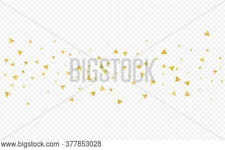 Gold Glow Golden Transparent Background. Bright Triangle Wallpaper. Yellow Dust Anniversary Pattern.