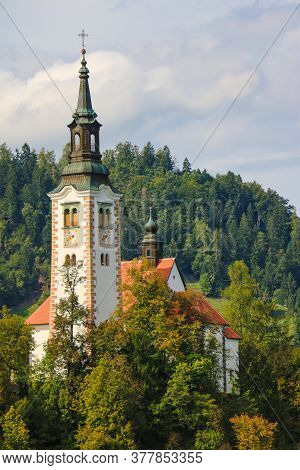 Beautiful View Of Lake Bled With The Pilgrimage Church Of The Assumption Of Maria On A Small Island