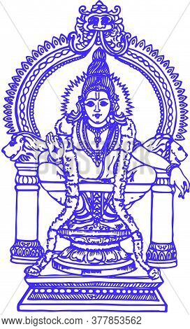 Drawing Or Sketch Of Lord Ayyappan Or Ayyppa Outline Editable Illustration