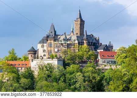 Wernigerode Castle Over Old Town At Sunset, Germany