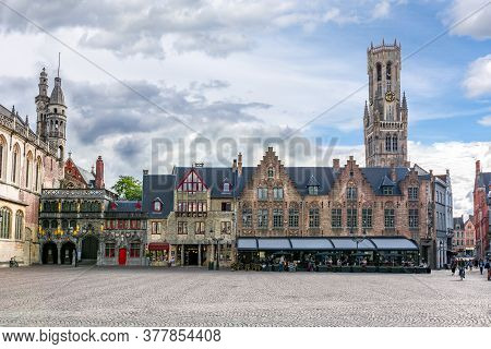 Basilica Of The Holy Blood On Burg Square And Belfort Tower, Bruges, Belgium