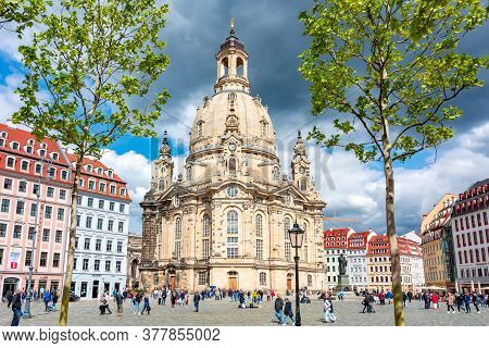 Frauenkirche (church Of Our Lady) On New Market Square (neumarkt), Dresden, Germany - May 2019