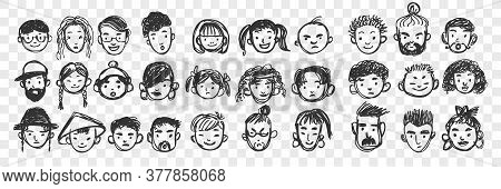 Hand Drawn Human Faces Doodle Set. Collection Of Pen Ink Pencil Drawing Sketches Of Multiracial Inte
