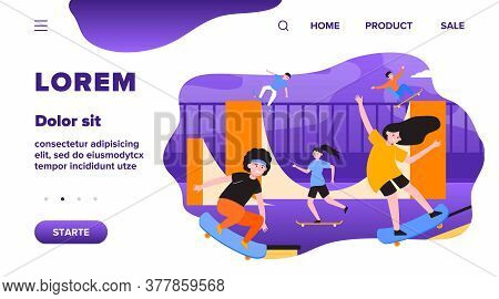 Fun Extreme Skateboard Park Flat Vector Illustration. Cartoon Teenagers Jumping And Doing Tricks Wit