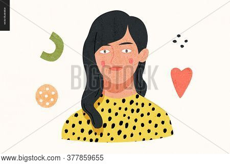 Beautiful People Portrait - Hand Drawn Flat Style Vector Design Concept Illustration Of A Young Brun