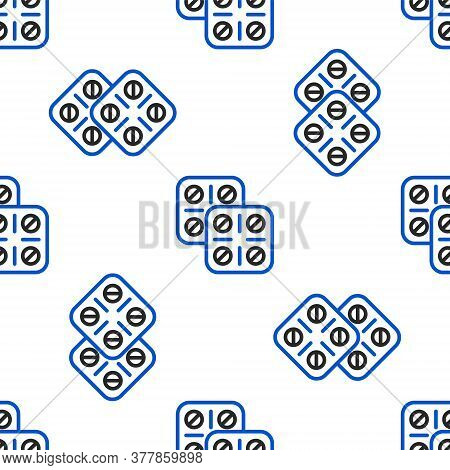 Line Pills In Blister Pack Icon Isolated Seamless Pattern On White Background. Medical Drug Package
