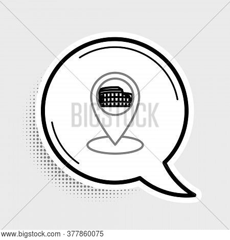 Line Map Pointer With Coliseum In Rome, Italy Icon Isolated On Grey Background. Colosseum Sign. Symb