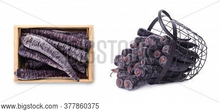 Basket And Wooden Crate With Black Carrots On White Background, Banner Design