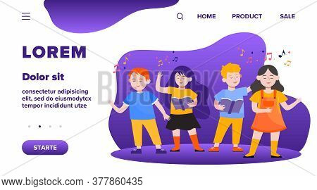 Cartoon Children Choir Flat Vector Illustration. Cute Kids Singing Song At Music School, Church Or V