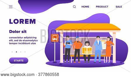 Cartoon Passengers Standing At Bus Stop Flat Vector Illustration. Women And Men Waiting For Public T