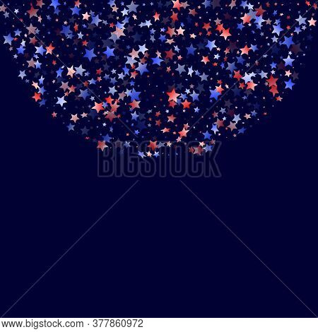 American Memorial Day Stars Background. Holiday Confetti In Us Flag Colors For President Day.  Solem