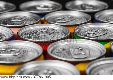 Aluminum Cans With Carbonated Water, Energy Drinks Or Beer