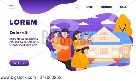 Happy Young Family Standing In Front Of House Flat Vector Illustration. Cartoon Mother, Father And K